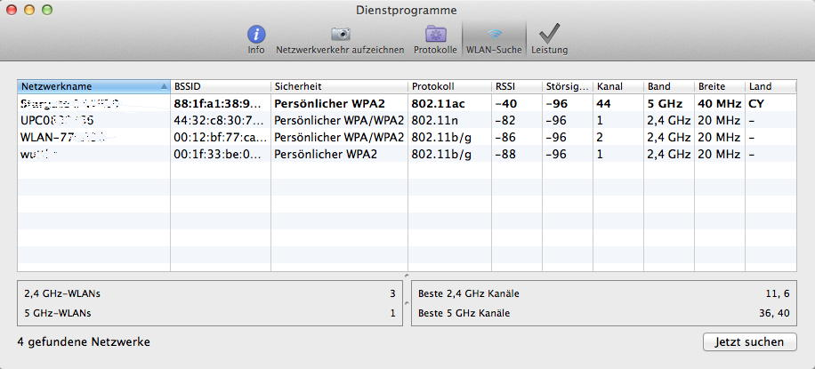 AirPort WLAN Diagnose Mac OS X 10.9